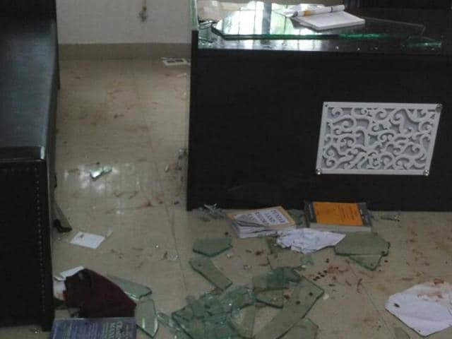 The vandalised chamber of Gian Singh Mungo in Nabha.