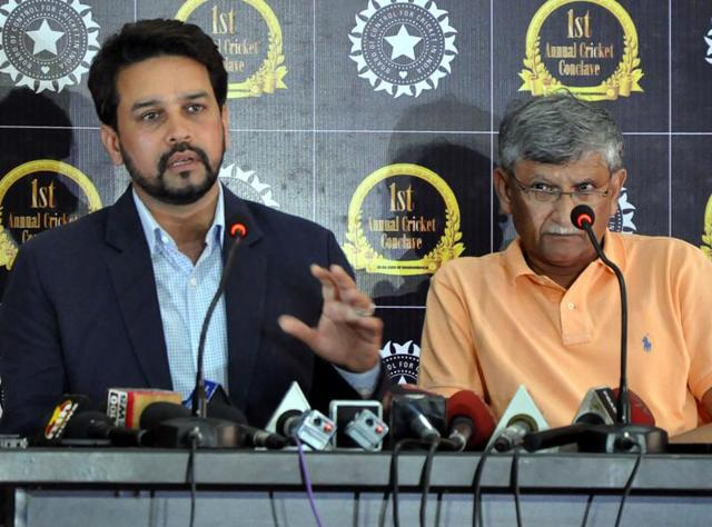 The BCCI president Anurag Thakur (left) and secretary Ajay Shirke (right)  have been asked by the Justice RM Lodha committee to appear before it on August 9.