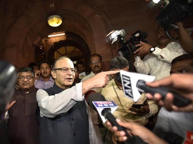 Finance minister Arun Jaitley coming out of the Rajya Sabha after the passage of the GST bill in New Delhi on Wednesday