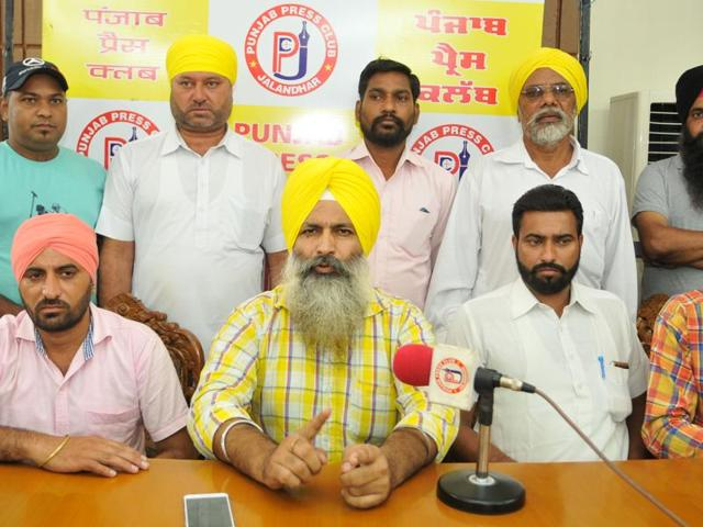 AAP circle chiefs from Sultanpur Lodhi during a press conference in Jalandhar on Tuesday.