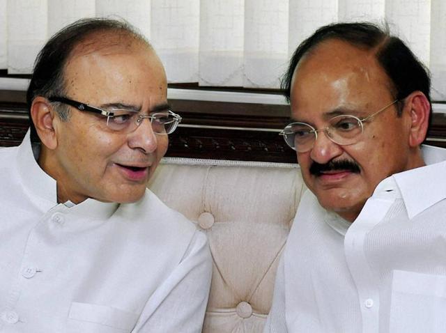 Union finance minister Arun Jaitley with M Venkaiah Naidu in New Delhi.
