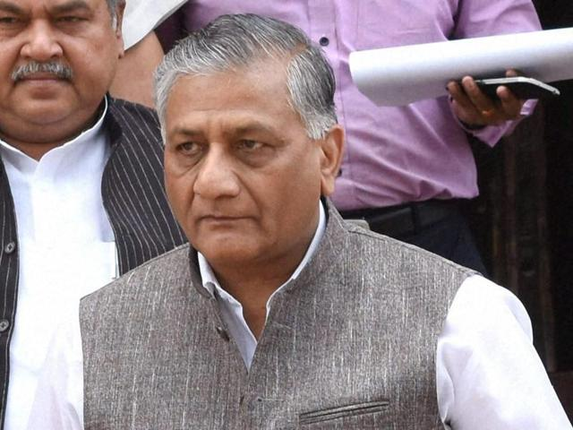 Minister of state for external affairs VK Singh at Parliament House in New Delhi.