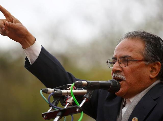 Chairman of the Unified Communist Party of Nepal (Maoist), Pushpa Kamal Dahal, addresses a mass demonstration in Kathmandu.