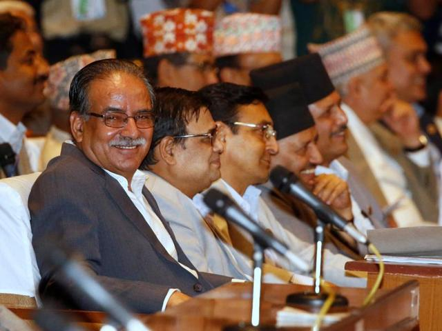 Prime Minister candidate and Chairman of the Unified Communist Party of Nepal (Maoist) Pushpa Kamal Dahal, also known as Prachanda, returns after giving his speech at the parliament during the prime ministerial election in Kathmandu on Wednesday.