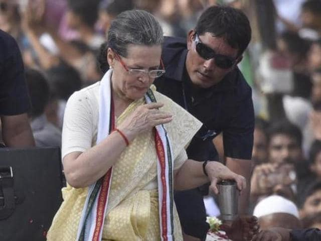 Congress party President Sonia Gandhi during the roadshow in Varanasi.