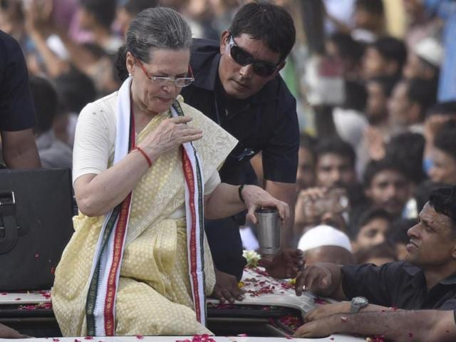 Congress president Sonia Gandhi during the road show in Varanasi. Gandhi was flown to Delhi late on Tuesday night after falling ill during the programme.