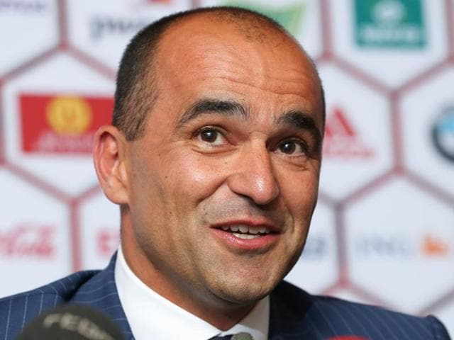 Spain's Roberto Martinez arrives for a media conference at the headquarters of the Belgian Football Association.