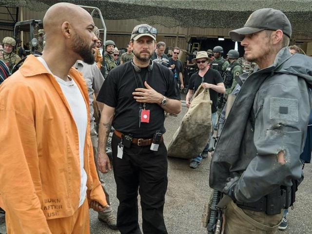 Will Smith, Joel Kinnaman and director of Suicide Squad, David Ayer on set.