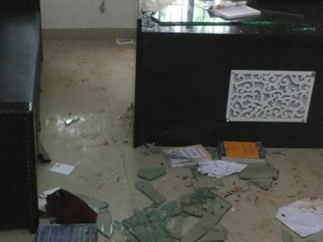 The vandalised chamber of Gian Singh Mungo in Nabha.