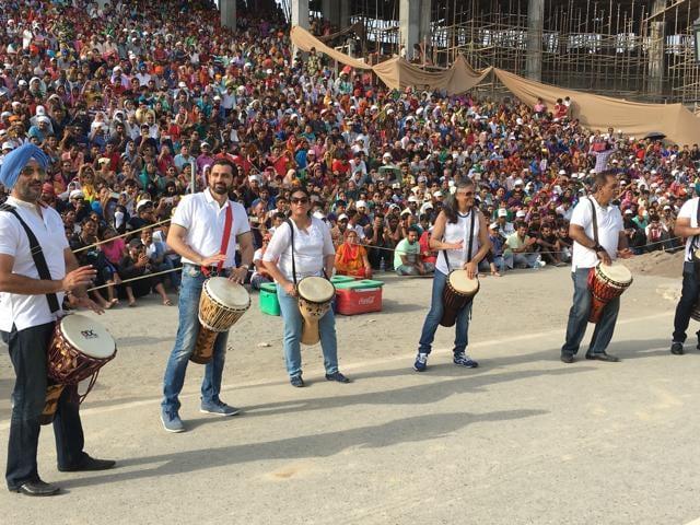 Old Springdalians Association Drum Circle (ODC) during performance at the Wagah Border.
