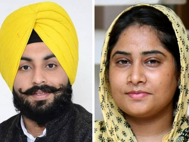 The under-30 contenders on the list include Harjot Singh Bains (left) from Sahnewal and the only woman candidate, Rupinder Kaur, from Bathinda (rural).
