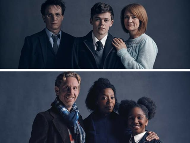 Portraits of the characters playing the Potter (above)and the Weasley family in the play.