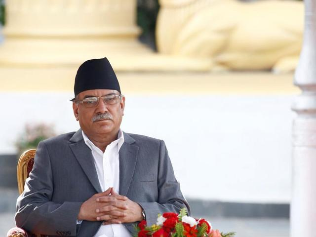 Newly-elected Nepalese Prime Minister Pushpa Kamal Dahal, also known as Prachanda, takes oath of office.(REUTERS)