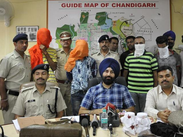 Senior superintendent of police Sukhchain Singh Gill addressing the media in Chandigarh on Wednesday.