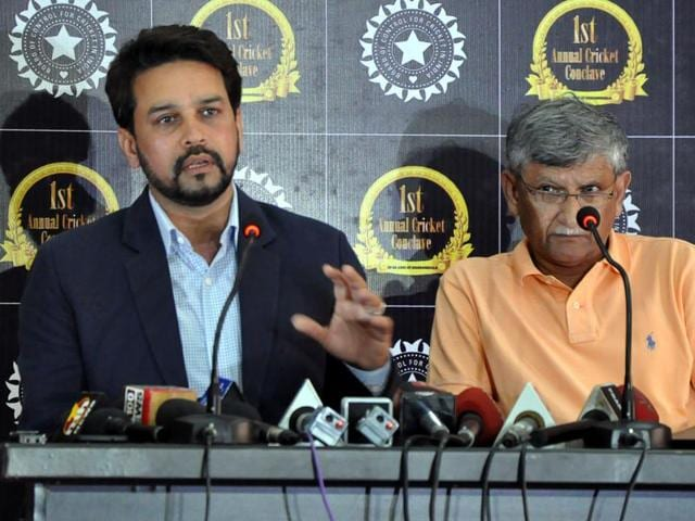 The BCCI president Anurag Thakur (left) and secretary Ajay Shirke, asked by the Justice RM Lodha committee to meet it on August 9, are expected to get a direction at Friday's special general meeting.