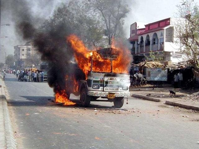 File photo of a burning truck during the 2002 riots in Gujarat in the aftermath of the train burning incident in Godhra.