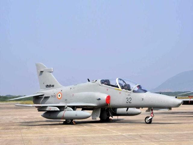 In this handout photo, the Hawk 132, a fourth generation Advanced Jet Trainer aircraft is pictured on the tarmac at Naval Air Station INS Dega, near Visakhapatnam.