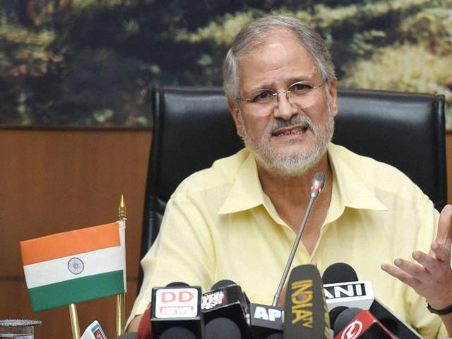 Lieutenant governor Najeeb Jung at a press conference on Thursday.
