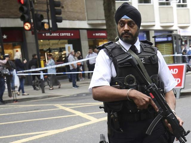 The crime scene in London's Russell Square is cleaned on August 4, 2016, following a knife attack in which one woman was killed and five others injured. Police said they are investigating for possible terrorist links.