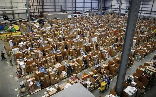 An Amazon 'fulfillment centre'.  The unified GST will help e-commerce companies streamline costs.