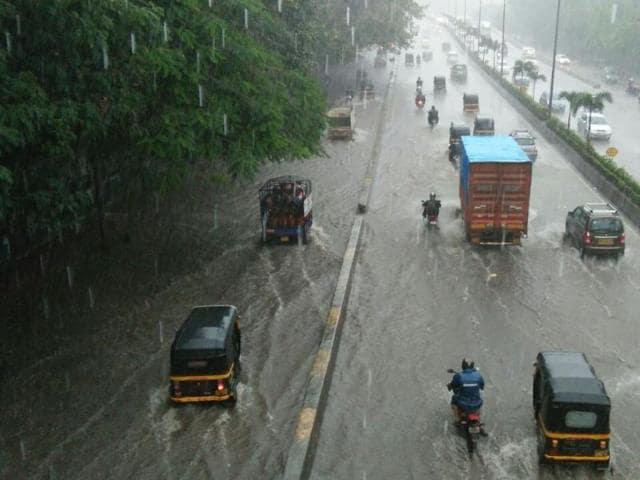 A waterlogged road at Hindmata, Tardeo.