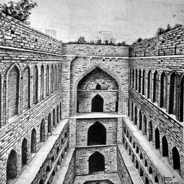 A sketch of the side view of the mosque in the Jamali Kamali tomb complex. Jamali is said to be a Sufi saint , while the identity of Kamali remains unknown.