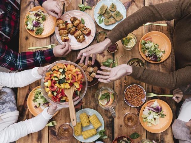 Plan simple, balanced meals to share together, and allow everyone to splash out as much as they like when eating out, so long as everyone pays for what they eat.