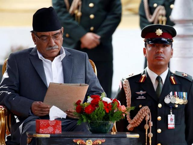 Newly elected Nepalese Prime Minister Pushpa Kamal Dahal, also known as Prachanda at the presidential building