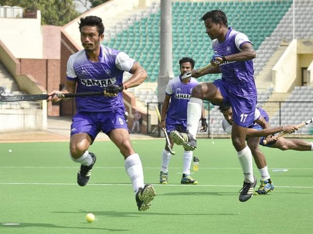 New Delhi, India - July 13, 2016: Indian hockey team players during a training session at National Stadium in New Delhi, India, on Wednesday, July 13, 2016. (Photo by Ravi Choudhary/ Hindustan Times)