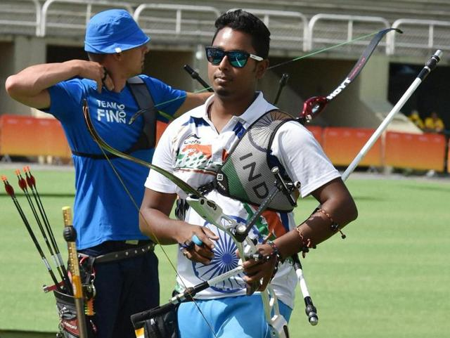 Atanu Das is the lone male member in the Indian archery team and competes in the individual section. (PTIPhoto)