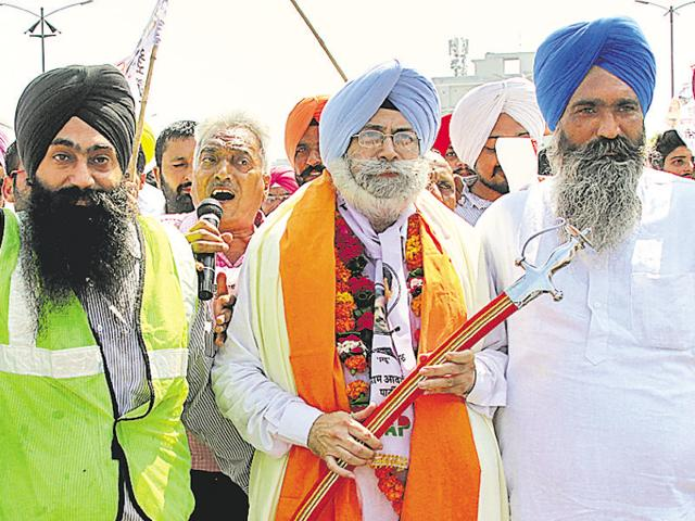 AAP's HS Phoolka at a road show in Ludhiana on Friday.