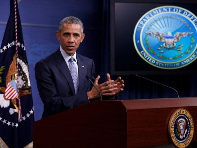 President Barack Obama talks about the war on terrorism during a news conference at the Pentagon on Thursday.