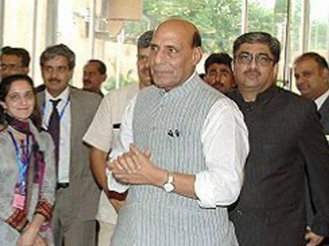 Union home minister Rajnath Singh on his arrival in Islamabad on Wednesday for Saarc summit.