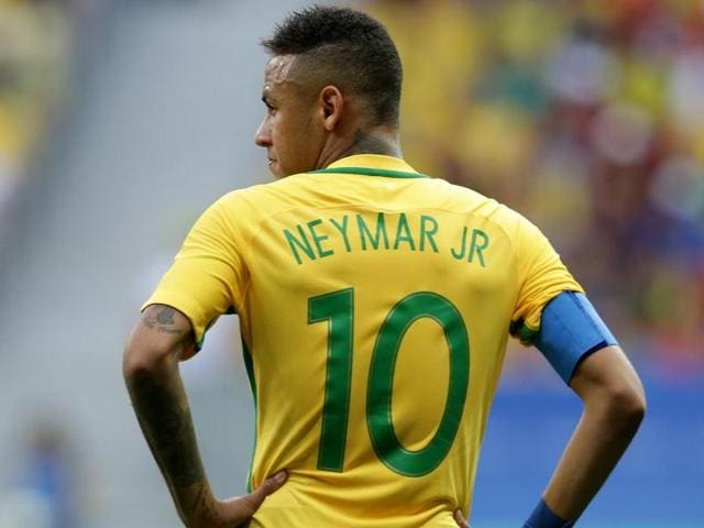 Brazil's Neymar walks on the field during a group A match of the men's Olympic football tournament.