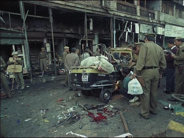 A bomb blast on 01 January, 1996 at Sadar Bazaar in Delhi.