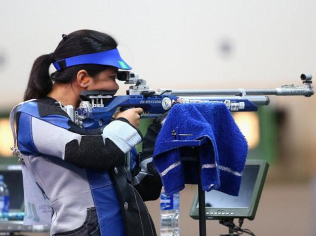 Apurvi Chandela of India competes in the Women's 10m Air Rifle Shooting.