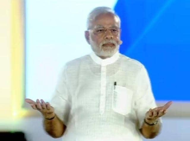 PMModi interacts with citizens at a town hall event on Saturday.
