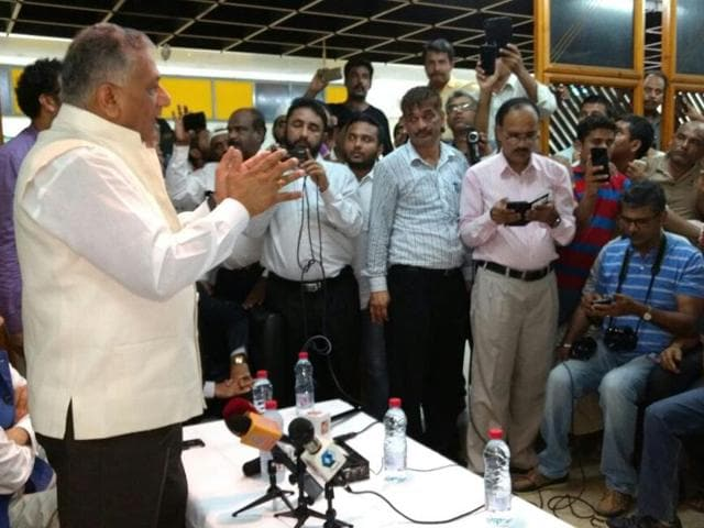 Minister of state for external affairs VK Singh interacts with Indian workers stranded in Jeddah