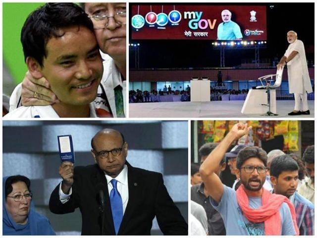 From top clockwise: Jitu Rai at Rio Games, PMNarendra Modi speaks at townhall in New Delhi, Khizr Khan at the Democratic Convention, Jignesh Mevani in Gujarat.