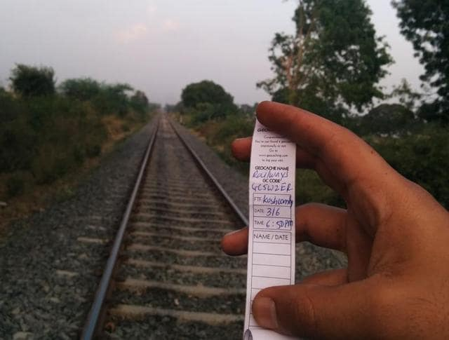 A traditional geocache usually contains a log book  and few toys or souvenirs for the finder.