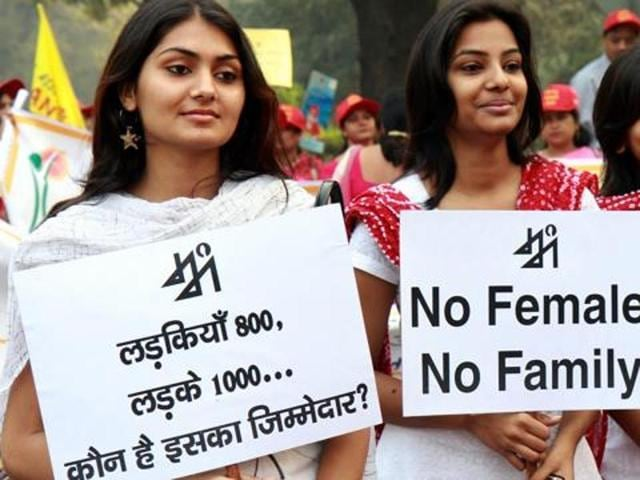 Activists at a rally against female foeticide and female infanticide in New Delhi.