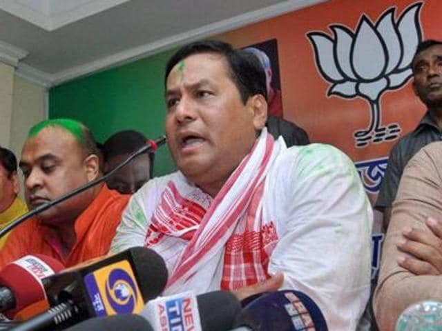 Assam chief minister Sarbananda Sonowal addresses a press conference at the BJP office in Guwahati.