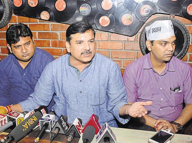 (From left) AAP leaders Sandeep Kumar, Sanjay Singh, and Naresh Yadav visited the party workers in jail on Saturday.