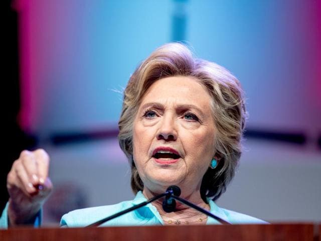 Hillary Clinton speaks at the 2016 National Association of Black Journalists' and National Association of Hispanic Journalists' Hall of Fame Luncheon at Marriott Wardman Park in Washington.