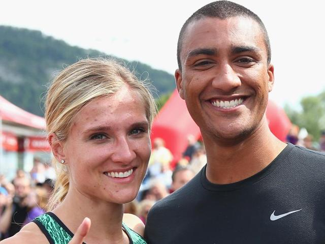 Ashton Eaton (left) of the United States is the defending champion and world record holder in decathlon.  Brianne Theisen-Eaton of Canada will be seeking her first heptathlon Olympics gold in Rio.