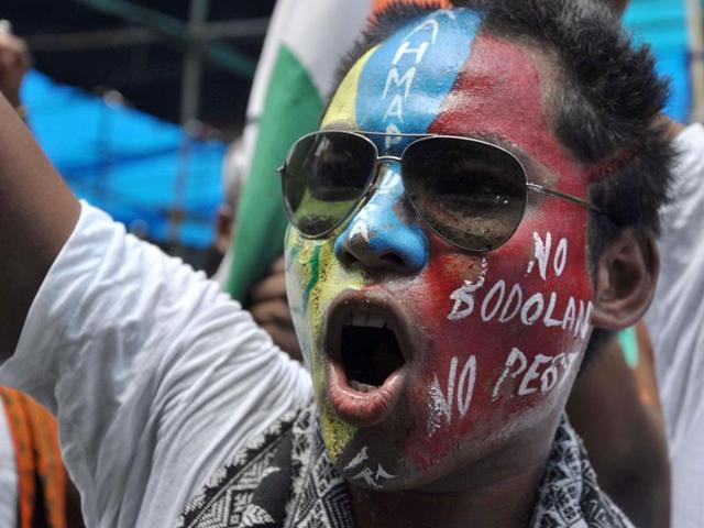 Bodo tribal youth shout slogans during a rally demanding a separate state of 'Bodoland' within the northeastern Assam state, at Kokrajhar, some 230 km from Guwahati.