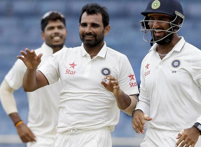 India pacer Mohammed Shami (right) has made a strong comeback after a frustrating injury layoff,  but will have to help India dismantle West Indies' lower order quicker in the next Test starting in St Lucia on Tuesday.