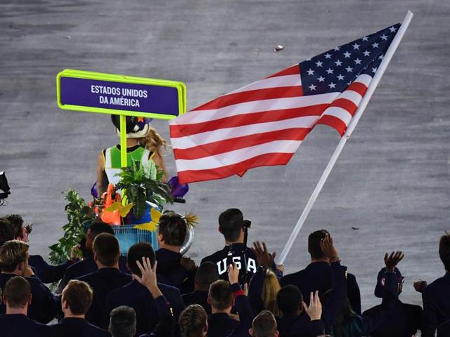 The US delegation parade during the opening ceremony of the Rio 2016 Olympic Games at the Maracana stadium in Rio de Janeiro.