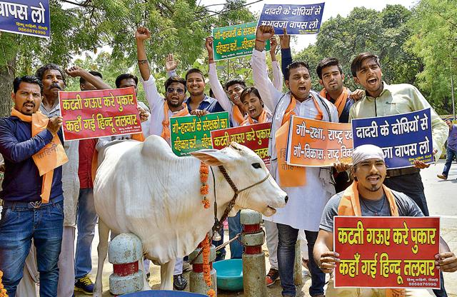 Hindu Vahini members at a protest march over cow protection in New Delhi