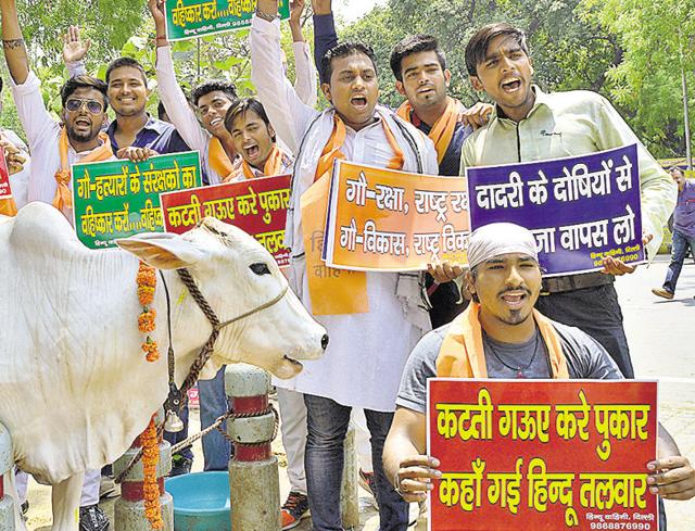 Hindu Vahini members at a protest march over cow protection at Parliament Street in New Delhi.
